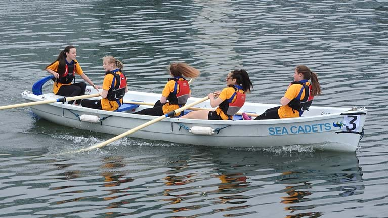 Bangor Sea Cadets Junior girls rowing team winning at District Regatta