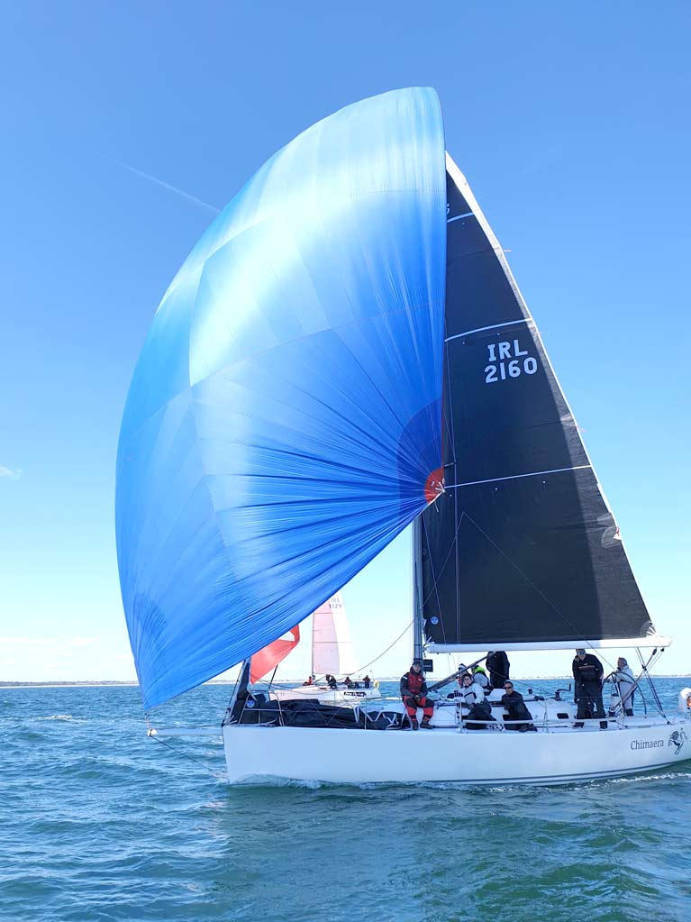 Chimaera flying her 3Di Mainsail Superkote Composite A2 Spinnaker