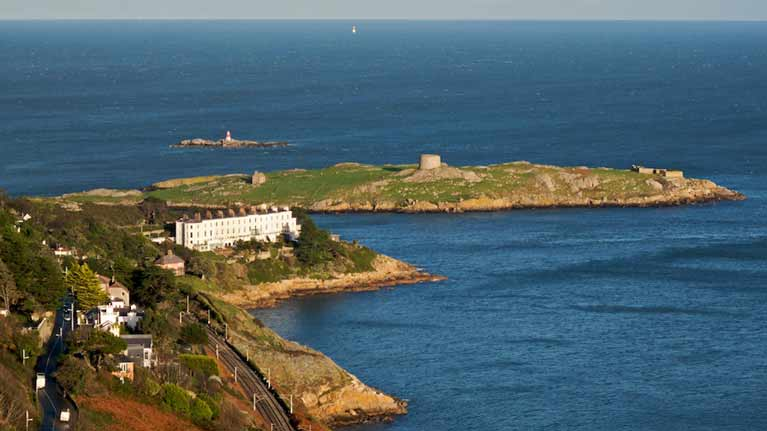 Dalkey Island and Sorrento Terrace viewed from Dalkey Hill
