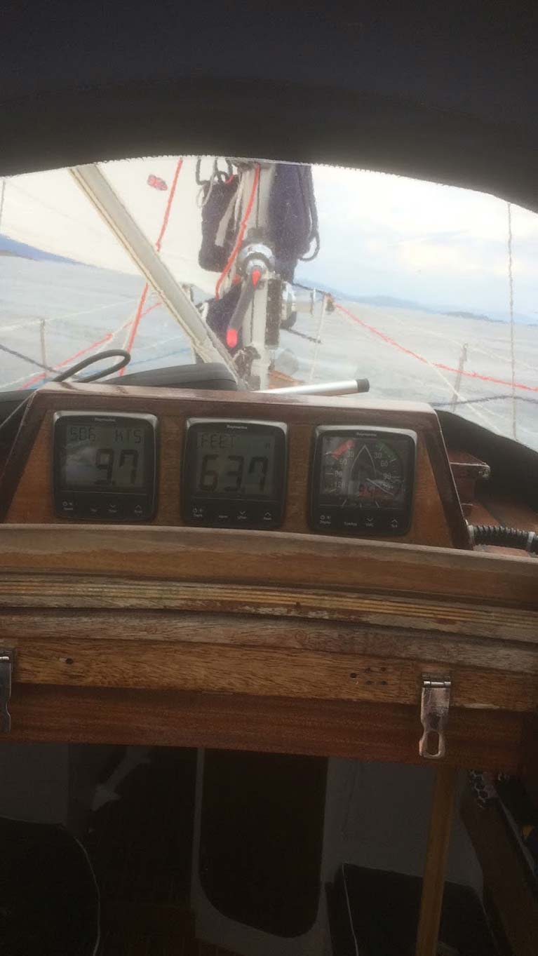 Hauling ass at 9.7 knots onboard