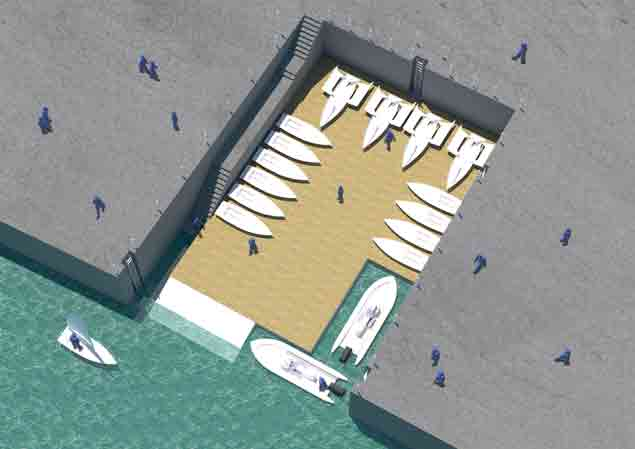 Irish Sailing pontoon with people
