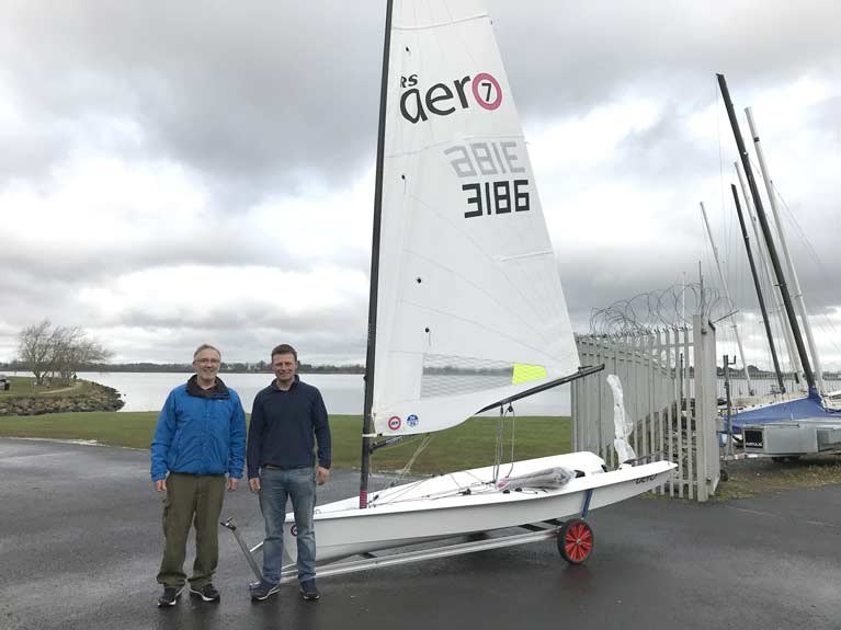 Karl receives his new RS Aero from RS Sailing dealer Kenneth Rumball