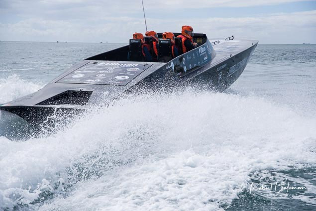 all black cork powerboat. roches point