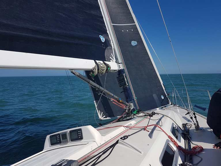 Aboard White Mischief flying her 3Di Main and Code 2 Jib Pic Maurice OConnell North Sails Ireland