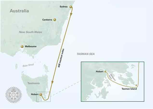 Rolex Sydney Hobart Yacht Race Course Map Photo by Rolex KPMS