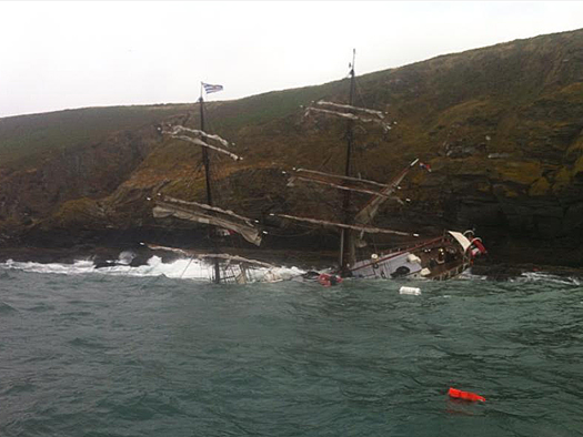 The tall ship Astrid sinking after striking rocks near Kinsale