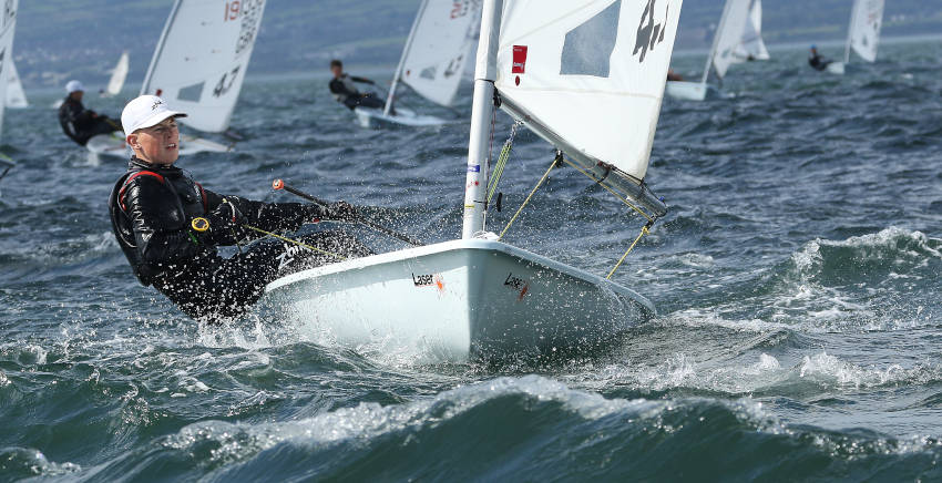 Racing hard in the Irish Laser Nationals at Ballyholme Yacht Club