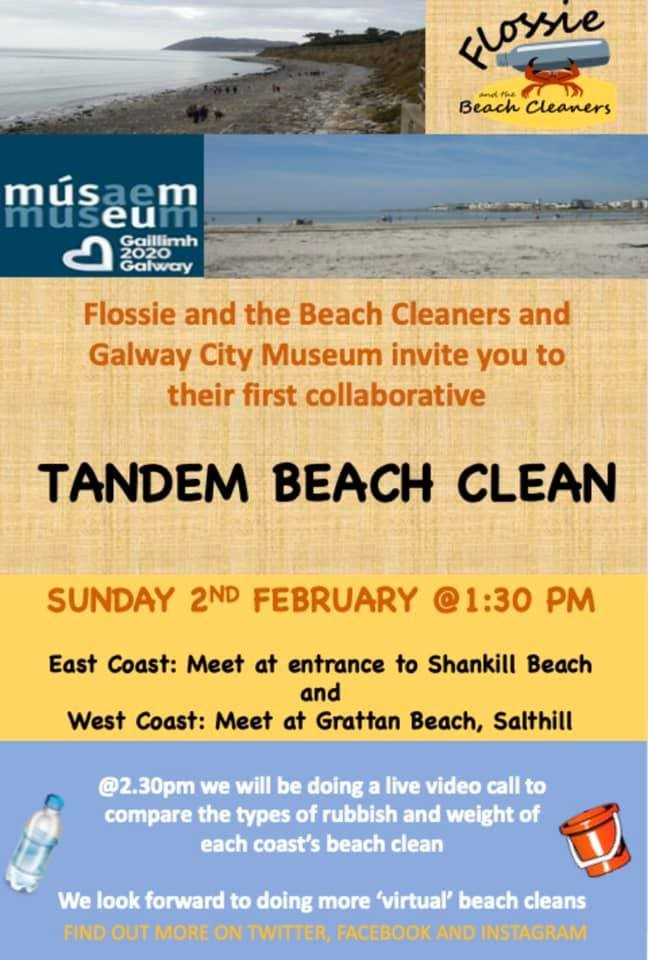 Poster for the Tandem Beach Clean in Galway and Dublin on Sunday 2 February