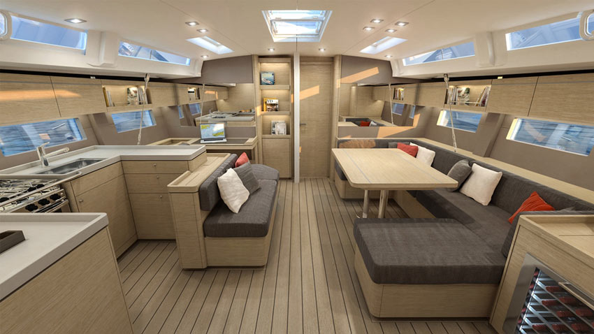 The Oceanis 51.1's stylish interior only adds to its high-performance design