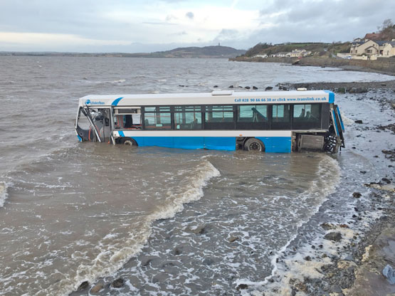 This Ulsterbus crashed through a wall on Portaferry Road