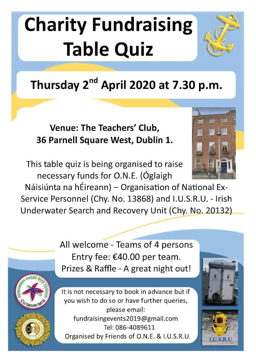 Poster for the Charity Table Quiz on Thursday 2 April at the Teacher's Club in Dublin