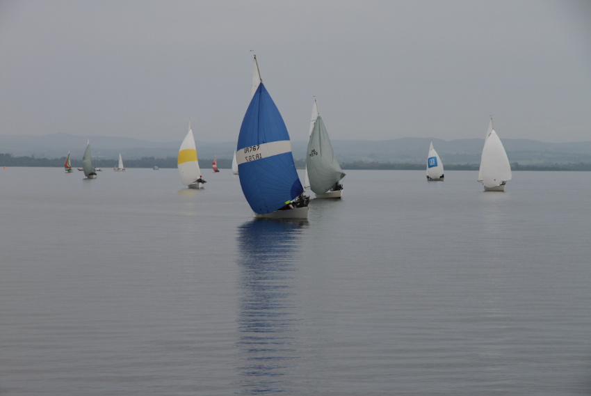 Boats becalmed on Lough Erne yesterday at the J24 Nationals