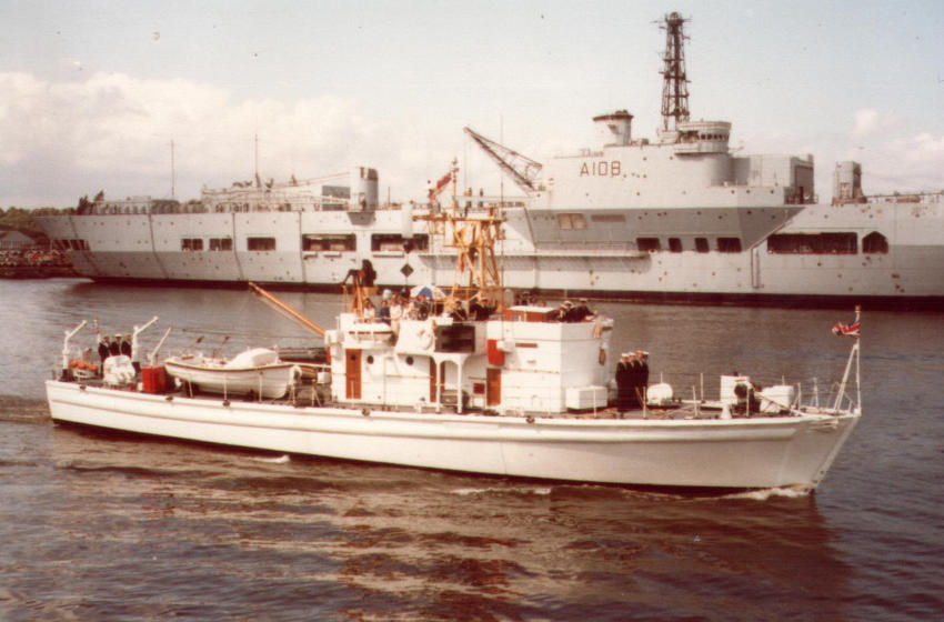 HMS Enterprise at Chatham in 1981, with HMS Triumph in the background (Photo: Wikimedia)