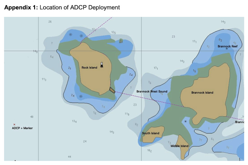Map showing the area of the ADCP deployment off Inis Mór