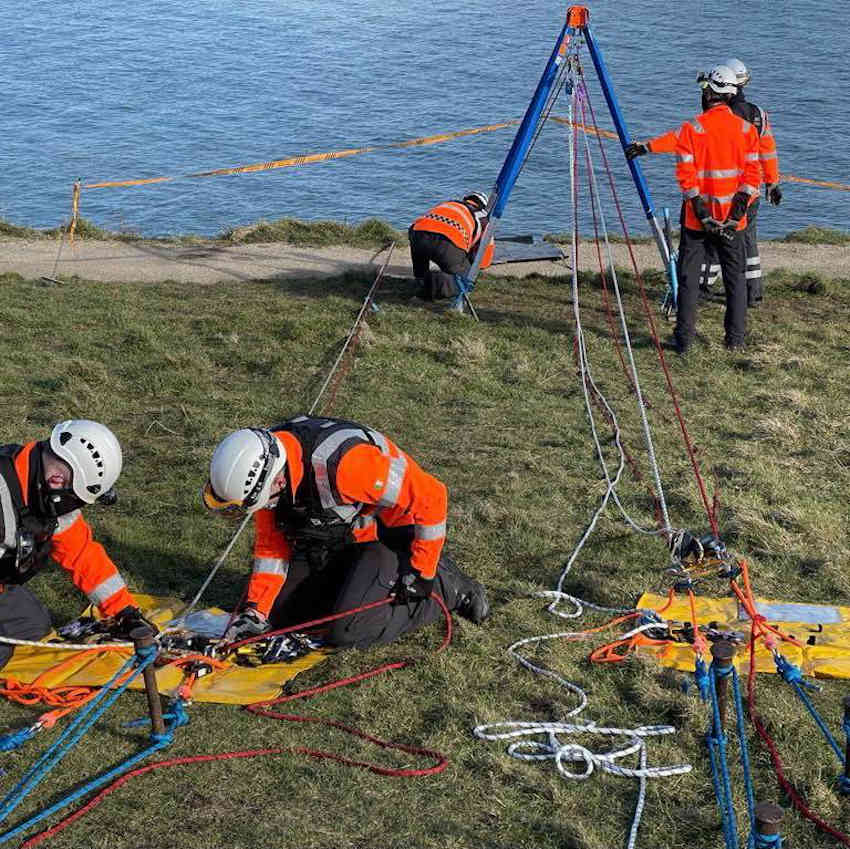 Howth Coast Guard's cliff rescue team set up for a descent