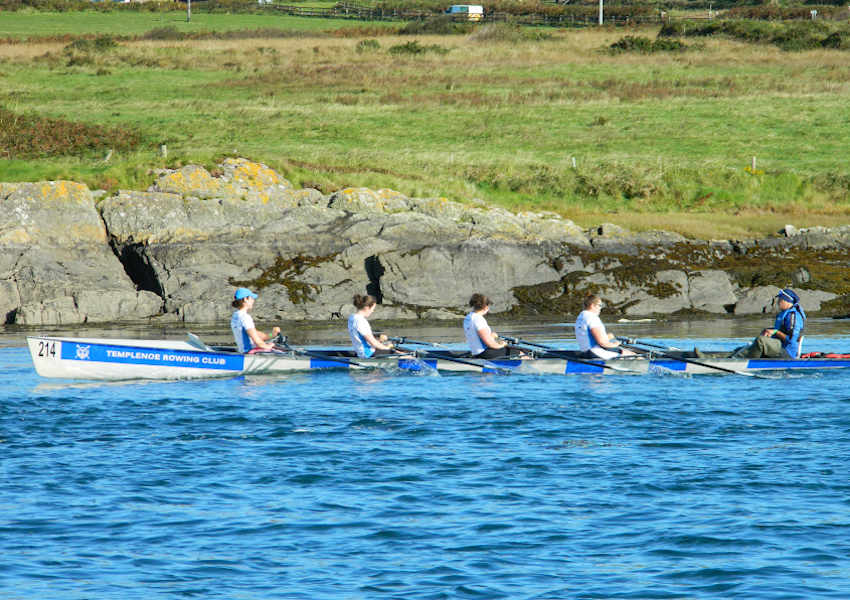 Templenoe Rowing Club's 214 boat with Gerard van Deventer coxing, Isobel van Deventer, Corina van Deventer, Heather O'Donoghue and Helen Harvey