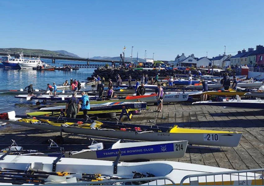 Boats lined up on the Portmagee slip at the 2020 Irish Offshore Rowing Championships