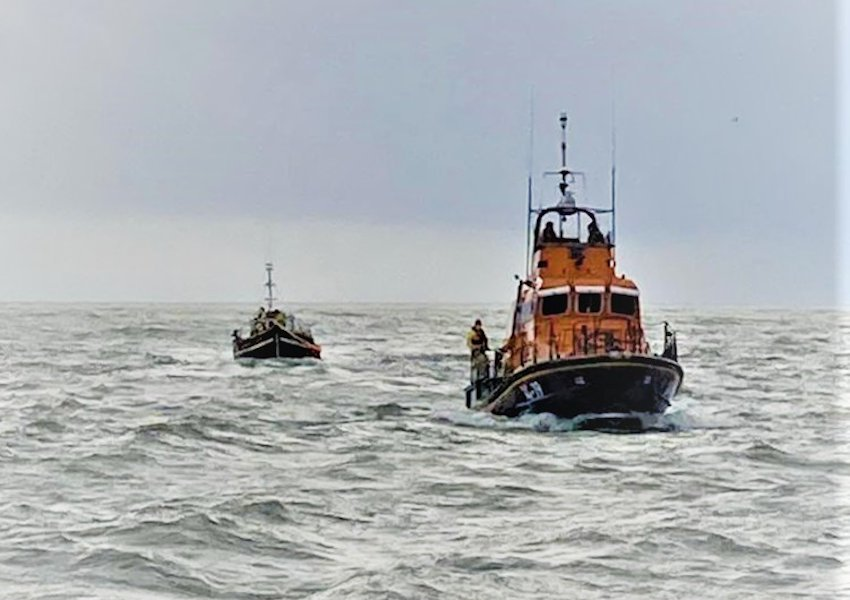 Arklow RNLI's all-weather lifeboat Ger Tigchlearr taking a stricken fishing vessel under tow | Photo: RNLI/Arklow