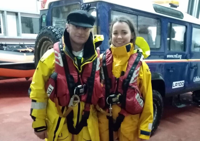 Aisling Cox with her dad and fellow crew member Kieran (Photo: RNLI/Arranmore)