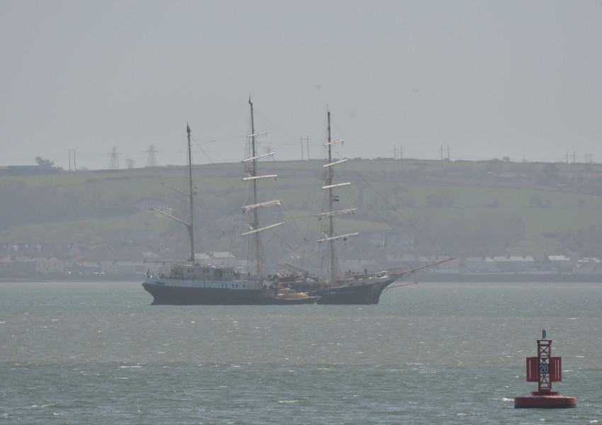 The SV Tenacious at anchor in Cork Harbour on Tuesday