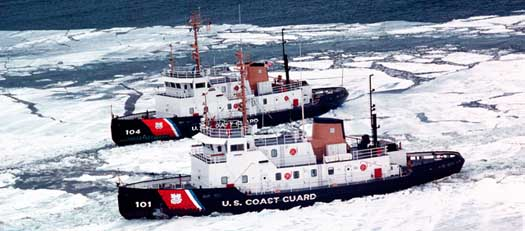 US ICE BREAKERS CLEARING ICE FOR SHIPS IN THE GREAT LAKES
