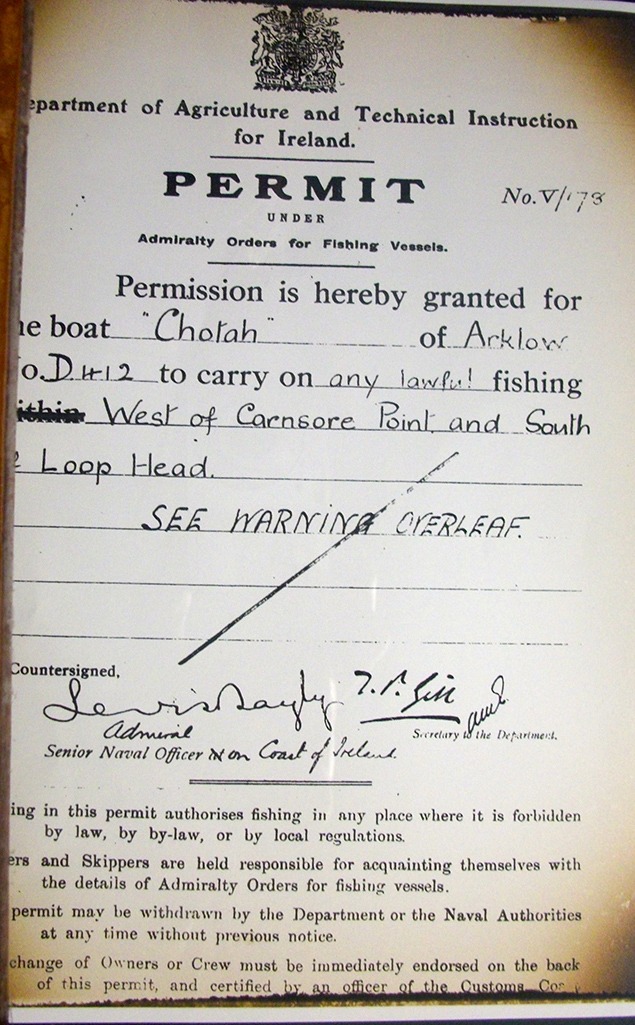 Chotah's Fishing Permit for 1919 Arklow Maritime Museum