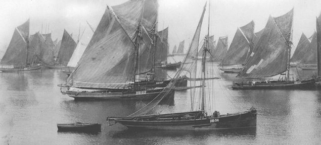 Brixham trawlers with cutter rig
