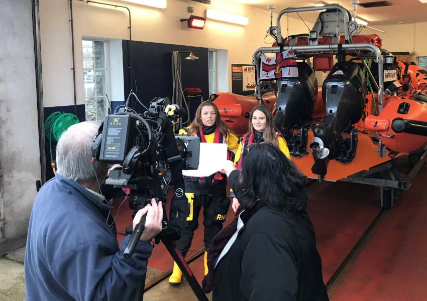 Crosshaven RNLI volunteers and best friends Molly and Caoimhe face the RTÉ Nationwide camera | Photo: RNLI/Niamh Stephenson