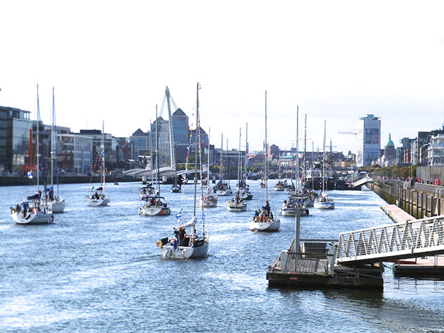 sailing yachts on river liffey