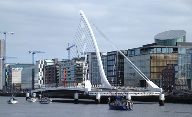Samuel Beckett bridge opens for yachts