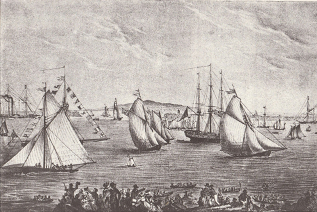 The first regatta in Kingstown Harbour in 1828