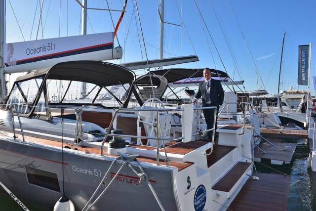 Bj Marine's James Kirwan onboard the Oceanis 51.1 on show at Beneteau's stand at the Southampton Boat Show