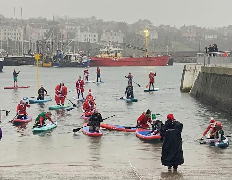 Stand Up Paddleboard Santas in Bangor Harbour