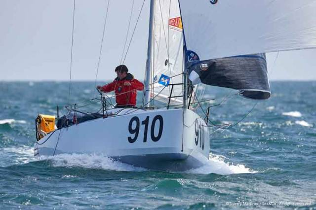Tom Dolan's Pogo 610 offshoresailing.fr (IRL 910) taking second place in the 500-mile Mini-en-Mai on May 12th at la Trinite sur Mer