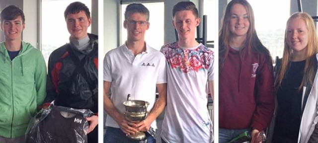 RS200 winners at Greystones Sailing Club: Pictured (centre) are Rs 200 Southern Champions - Frank and Son Kevin O'Rourke, (left) RS 200 Junior champions, Mike O'Dea and Sean Hynes and  third overall, CAYC's Jocelyn Hill and Katie Kane