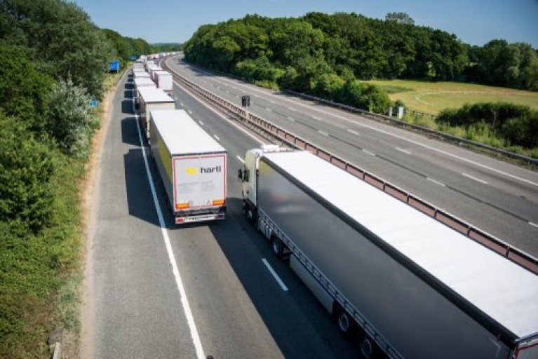 Lorries in the UK on a motorway in Kent near the Port of Dover
