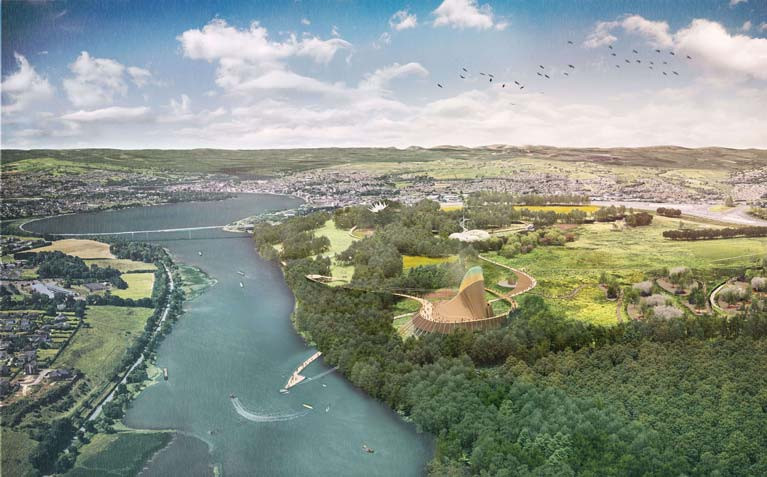 An artist's impression of the Foyle project that plans to transform the banks of the river, linking the Boom Hall and Brook Hall estates