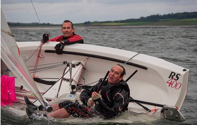 An RS400 crew capsized at the Sligo based Western championships
