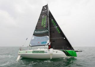Joan Mulloy gets to grips with her Beneteau Figaro 3 foiling yacht