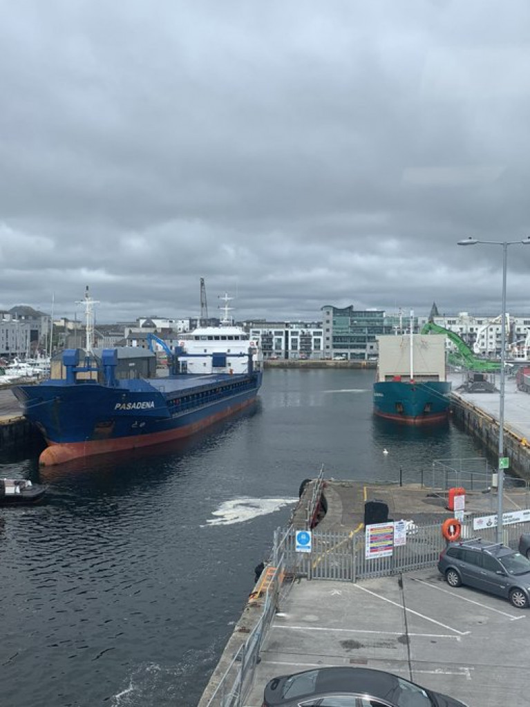 Among the variety of vessels berthed in the Port of Galway (Dun Aengus Dock) at the weekend was the general cargoship Pasendena (on left) loaded with scrap-metal. Afloat has indentied the owners of the 2,993grt short-sea trader as Gerhard Wessels based in Germany.