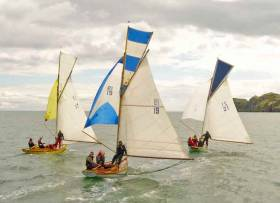 "An ancient class in the best of health. The Howth Seventeens Oona (left, Peter Courtney, built 1910), Isobel (Conor & Brian Turvey, built 1988) and Orla) (Ian Malcolm, built 2017) racing towards Ireland's Eye in their Annual Championship on Saturday. In addition to their five race ""National"" Championship, the class provides about 60 club and regatta races in the course of the season"