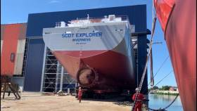 Scotline have confirmed an order for a third newbuild to a Dutch shipyard from where above second sister Scot Explorer (registered in Inverness) is due to be completed in November of this year.  As for the third timber products carrier will be delivered but not until the end of 2020.