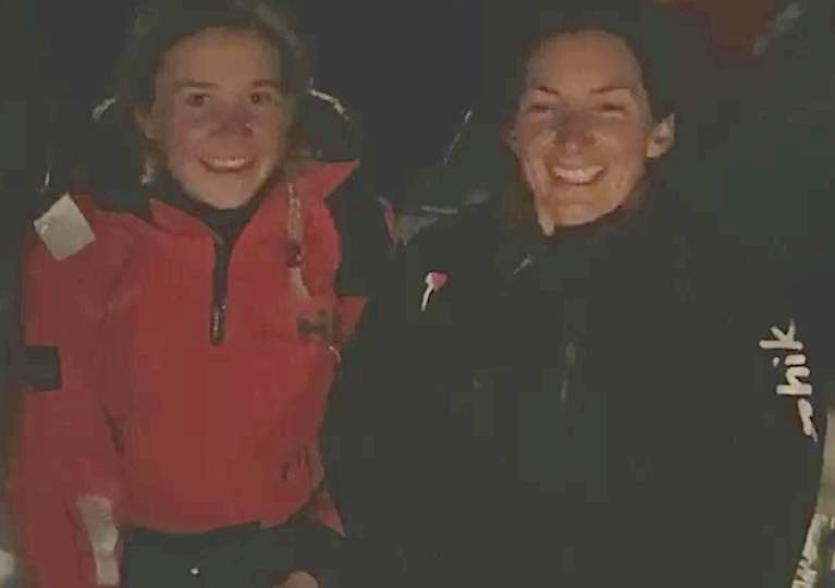 Record smiles: Cat Hunt (left) and Pam Lee dockside in Greystones early this morning after setting a new Round Ireland record. See vid below