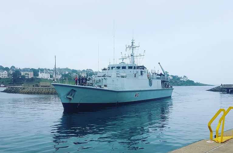 Minehunter HMS Ramsey arrives into Bangor Harbour on Belfast Lough