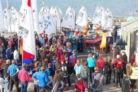 Competitors at the pre–race briefing for the 41st All Ireland Inter-Schools Sailing Regatta at Sutton Dinghy Club