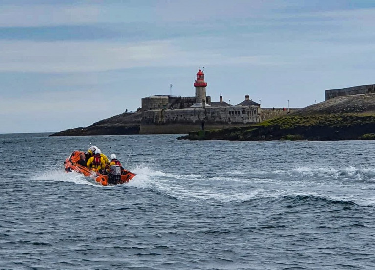 Dun Laoghaire RNLI rescued an angler from Dublin Bay after a fall from the West Pier