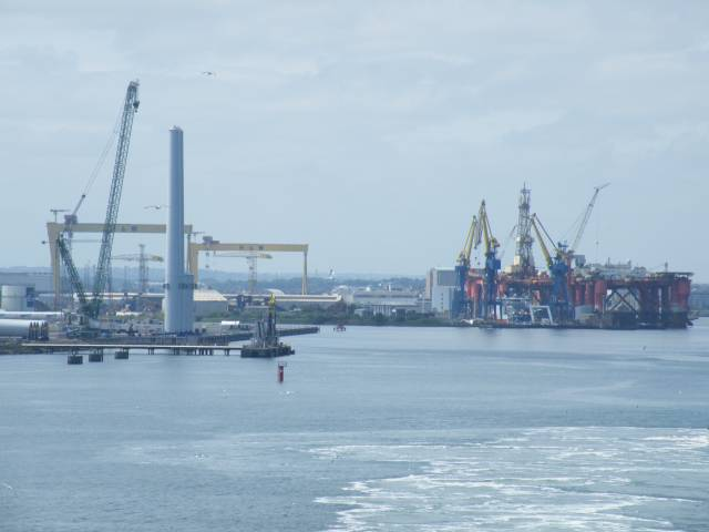 Dong Energy facility (on left) with backdrop of H&W's famous Samson & Goliath cranes and oil platforms at the marine engineering facility on Belfast Lough