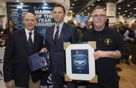 Glen Wallis, Business Development Manager at GJW Direct presents Gavin Deane and Mark Ring of Royal Cork Yacht Club with Marina of the Year runner up prize for International Marina of the Year 2017 at The Yacht Harbour Association, Marina of the Year Awards 2017 at the London Boat Show 2017, Excel, London