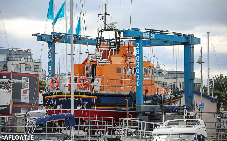 The RNLI Howth Lifeboat on the MGM Boat hoist in Dun Laoghaire Harbour in 2019