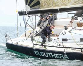 Greystones Sailing Club's Paddy Barnwell trimming on board Eleuthera, a class zero entry for Cork Week Regatta